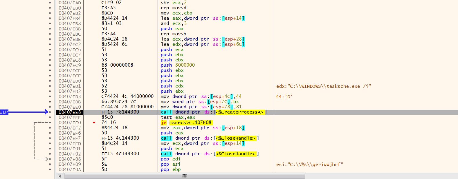 Reverse engineering of a WannaCry sample